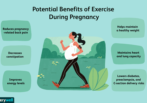 Illustration of pregnant woman walking while pregnant