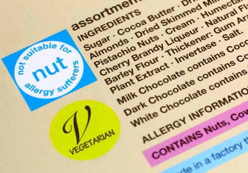 Nut allergy packaging warning