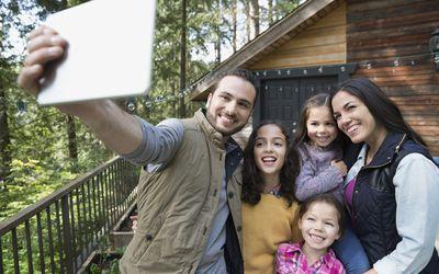 A blended family taking a selfie