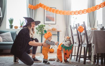 baby and mom with halloween