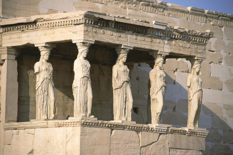 Porch of the Caryatids at The Erechteion at the Acropolis, Athens, Greece