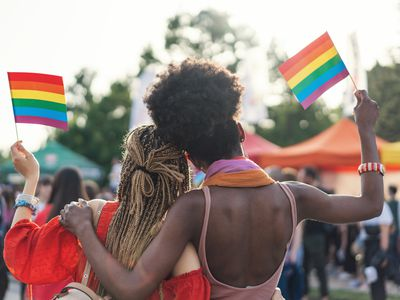 A couple at a Pride event