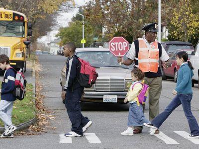 kids crossing at school