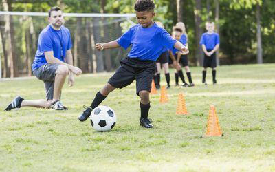 Boy on soccer team practicing