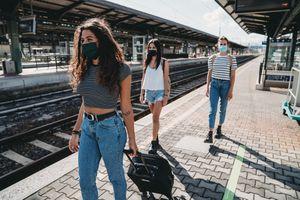 three college women traveling