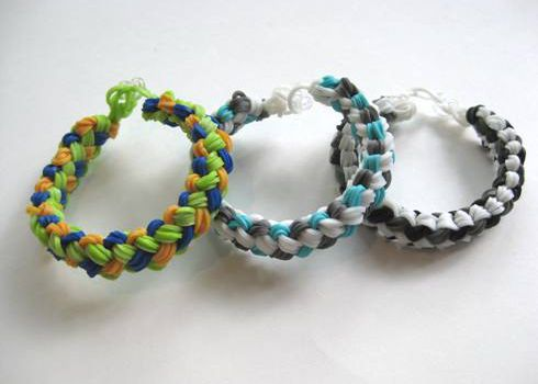 Rainbow Loom double-braid loop bracelets