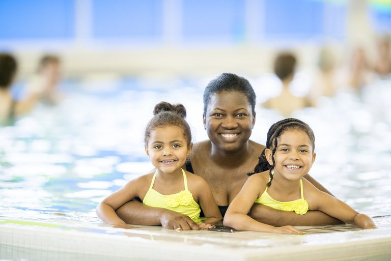 Family-friendly gyms - mom and daughters at pool