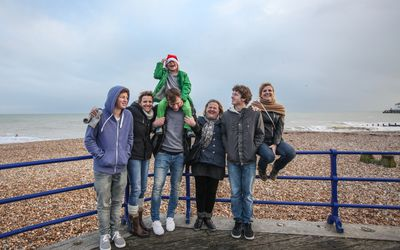 Family at seaside on wintry day
