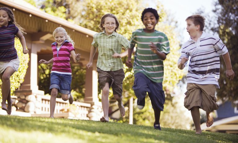 Children running in a yard