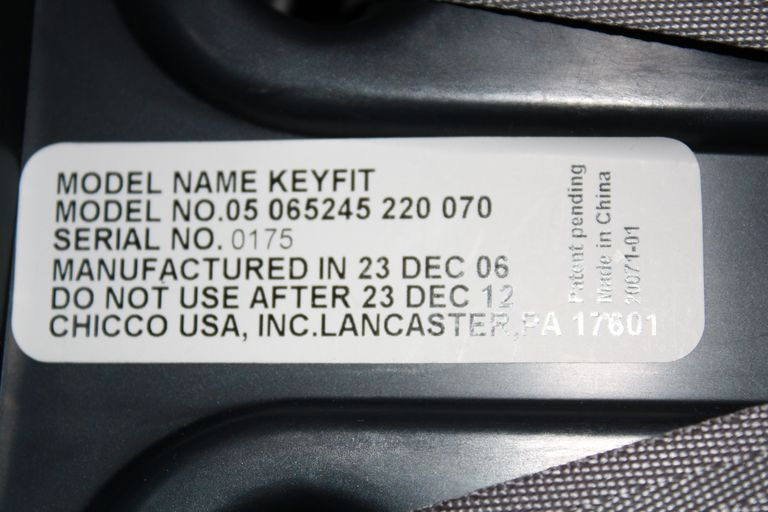 Sticker on car seat with all needed information to register