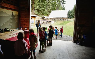 Kids lined up at summer camp
