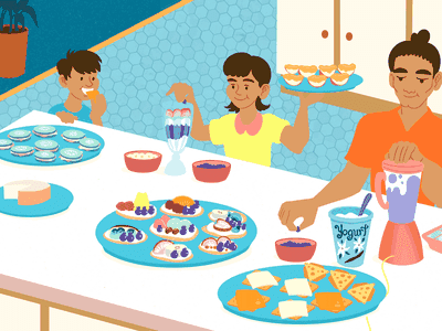 Family eating snacks together
