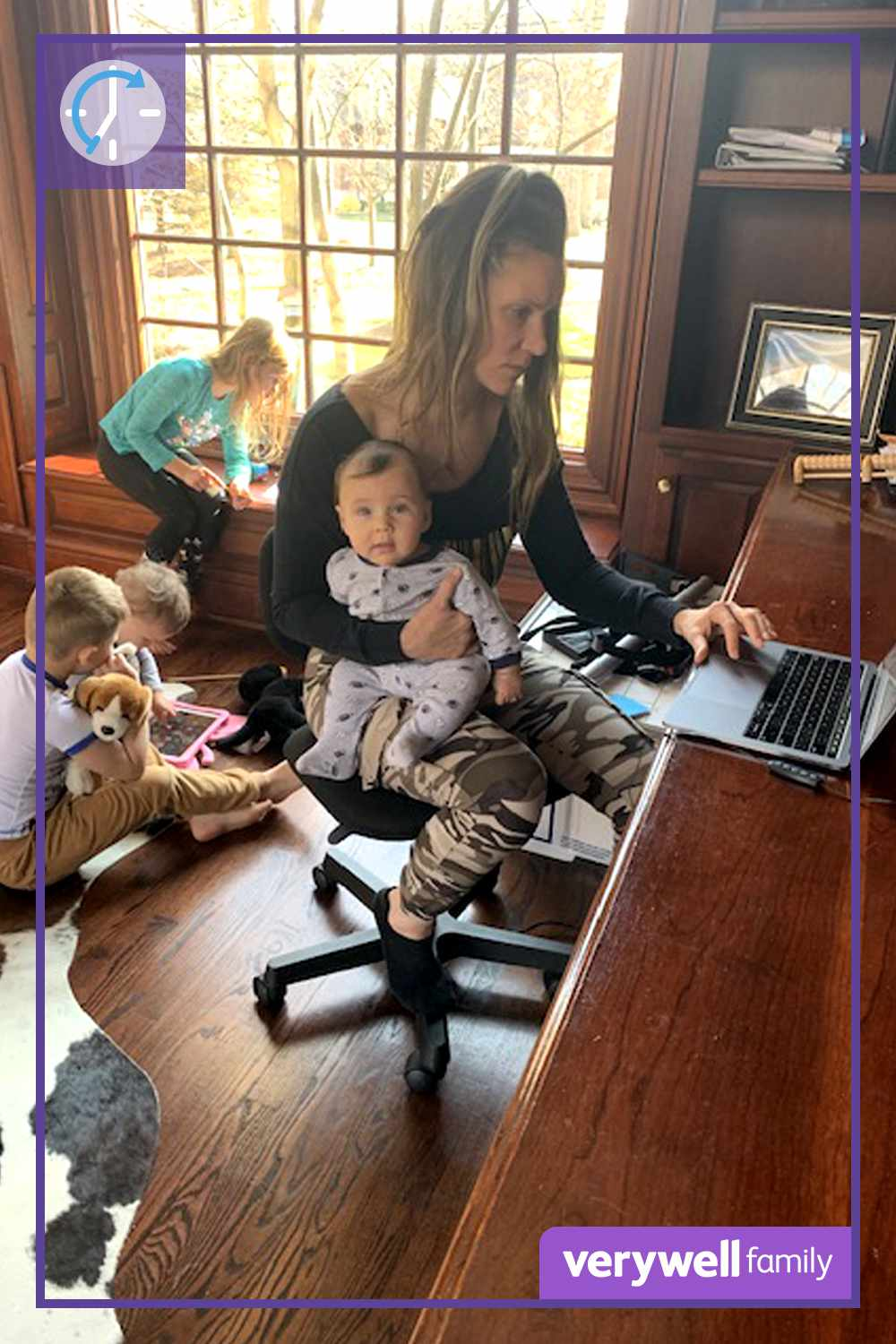 Jillian Lorenz working from home with four kids