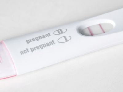 Close-up of a positive pregnancy test