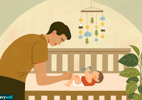 Illustration of baby in crib