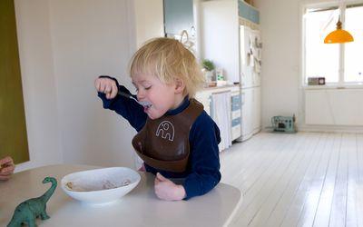 Boy eating breakfast