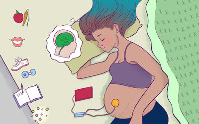 Illustration of woman laying down, wearing headphones on her baby bump