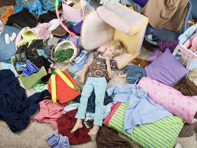 Sad Child in Messy Room