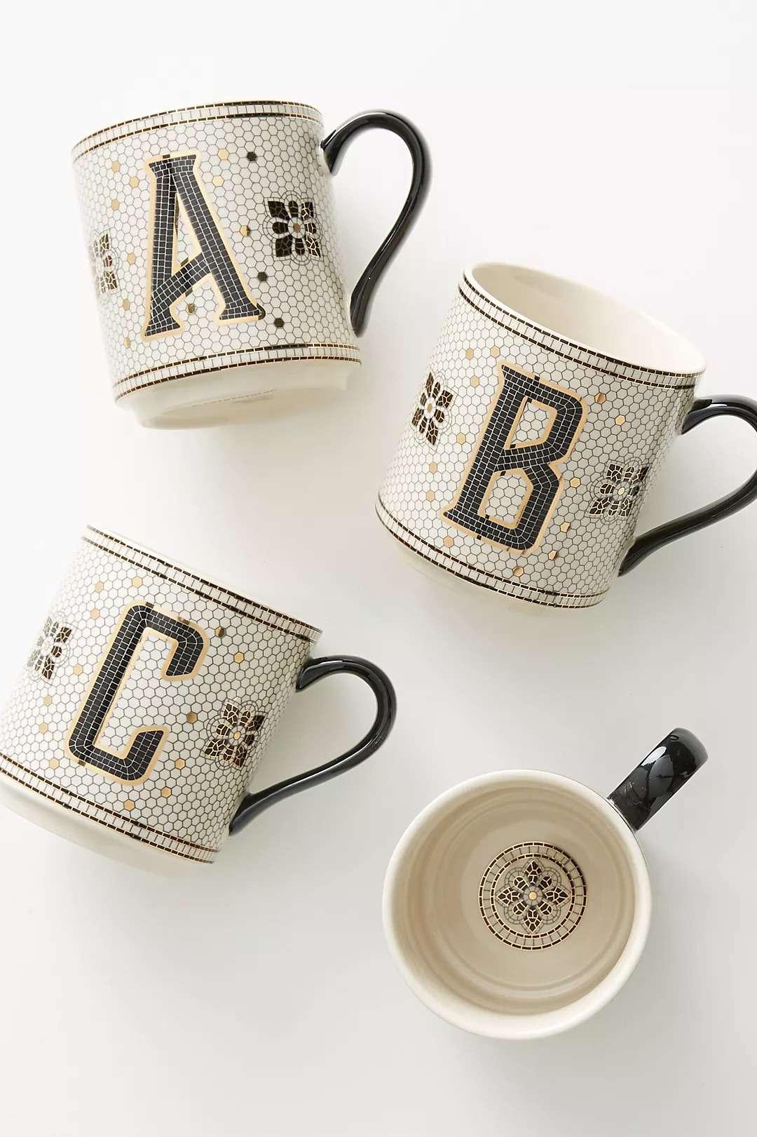monogram tile mug