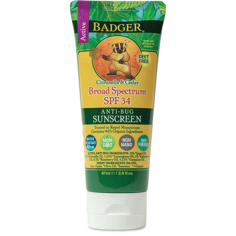 Badger SPF 34 Anti-Bug Sunscreen Cream