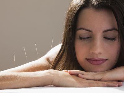 Woman feeling very calm during acpuncture