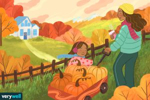 drawing of mother and daughter doing fall activities
