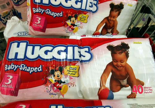 Huggies diapers in a cart.