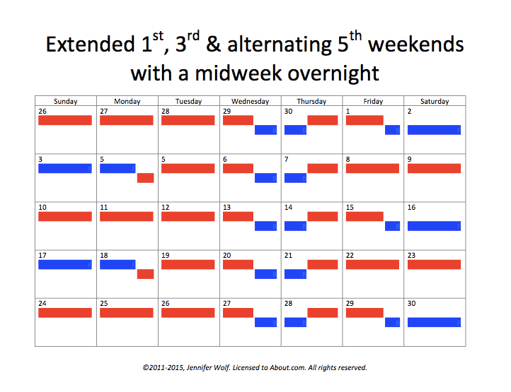 Extended 1st, 3rd, and alternating 5th weekend with a midweek overnight.