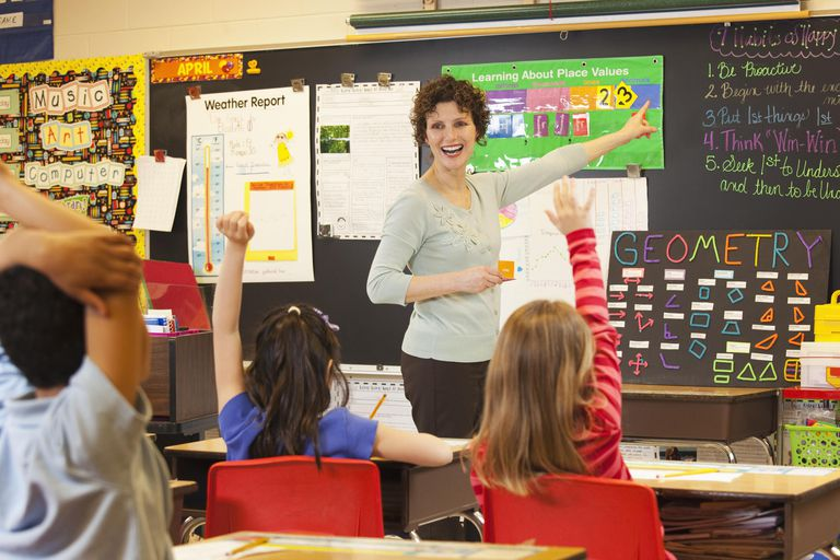 Teacher teaching math to students in classroom