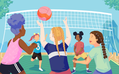 Girls playing volleyball with different hairstyles