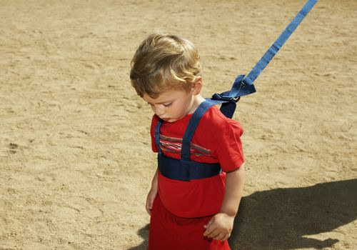 Boy (12-15 months) wearing harness on sand