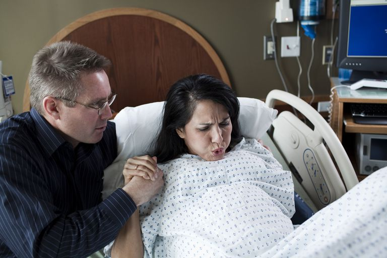 Woman having labor pains
