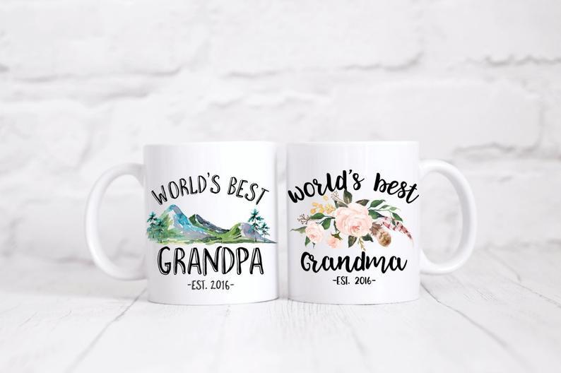 Etsy World's Best Grandparents Mug Set