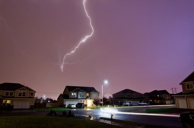 Lightning Strikes Above Home