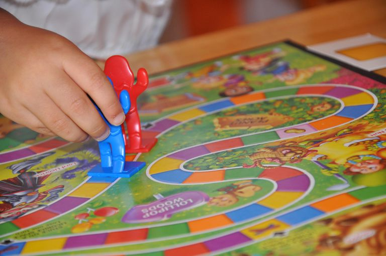 Two people playing Candyland