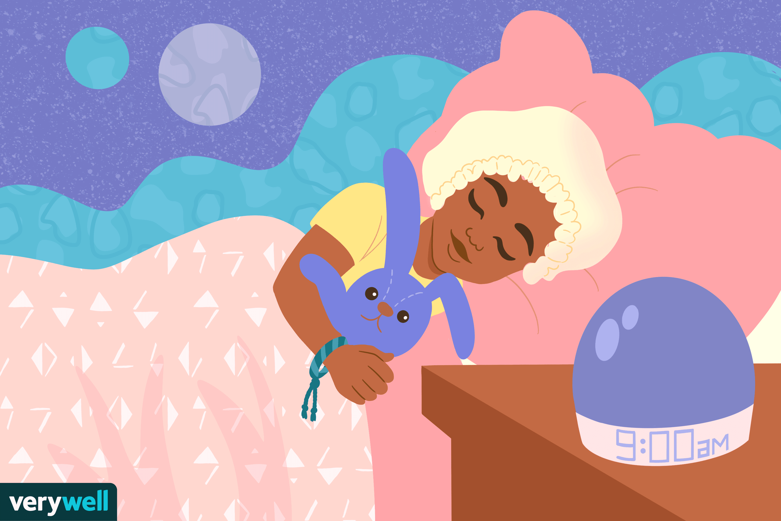 Illustration of child in bed with stuffed animal at 9pm