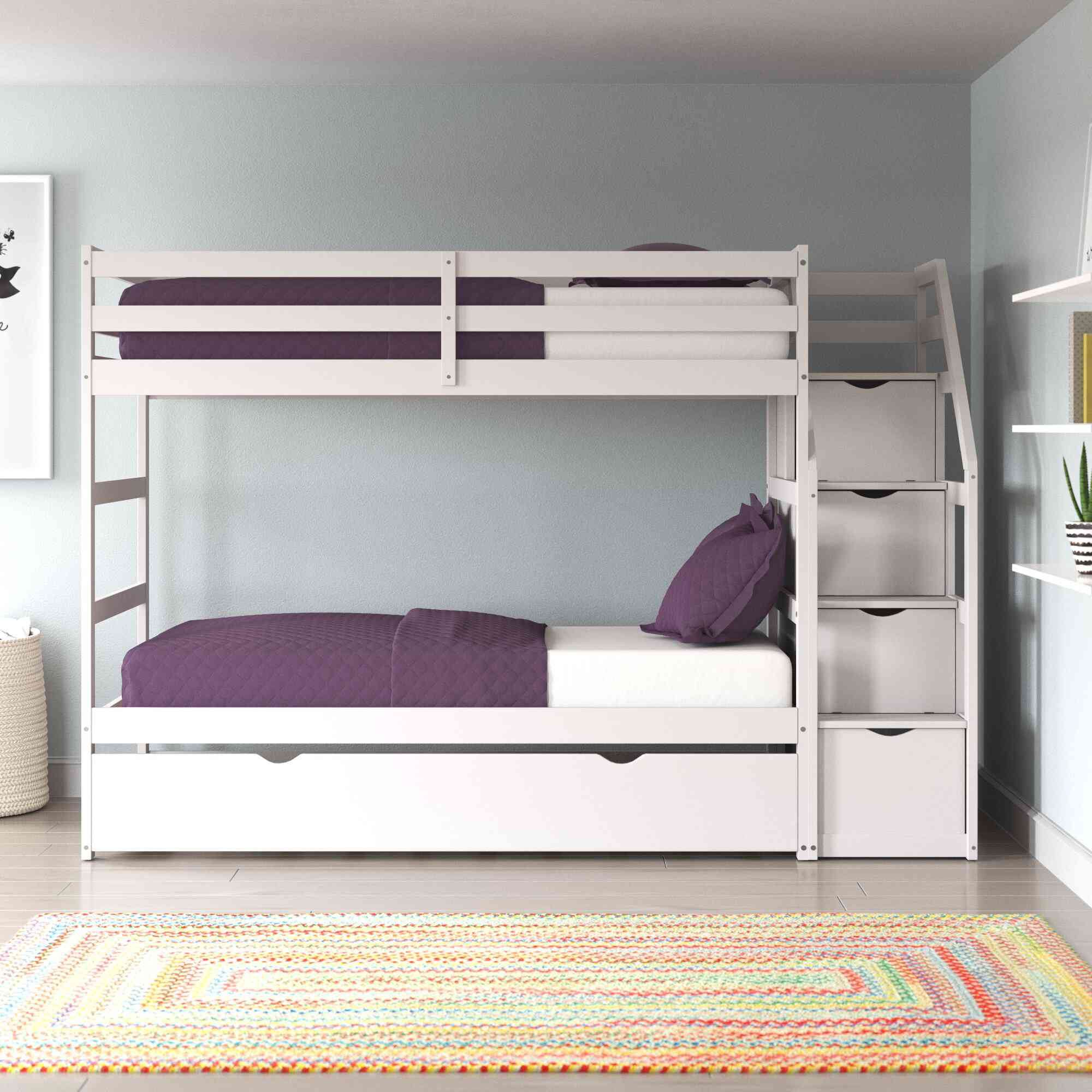 Lightsey Twin Over Twin Bunk Bed with Trundle