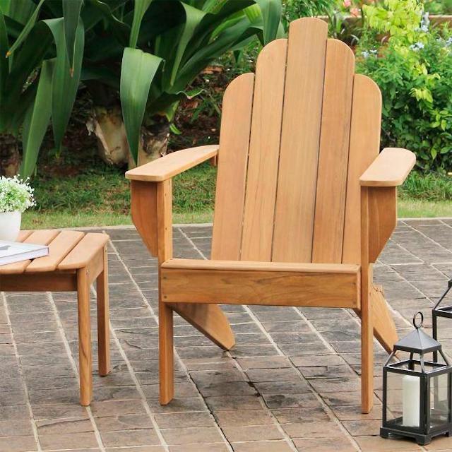 Grandin Road All-Natural Teak Adirondack Chair