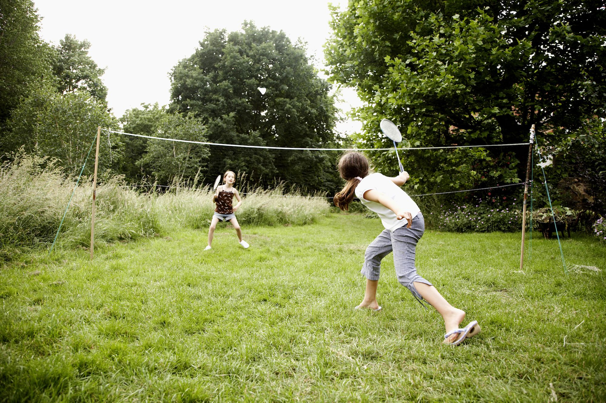 Child playing badminton