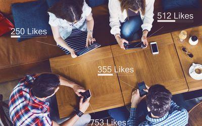 group of teens on social media
