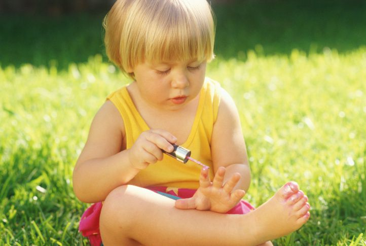 Toddler painting nails