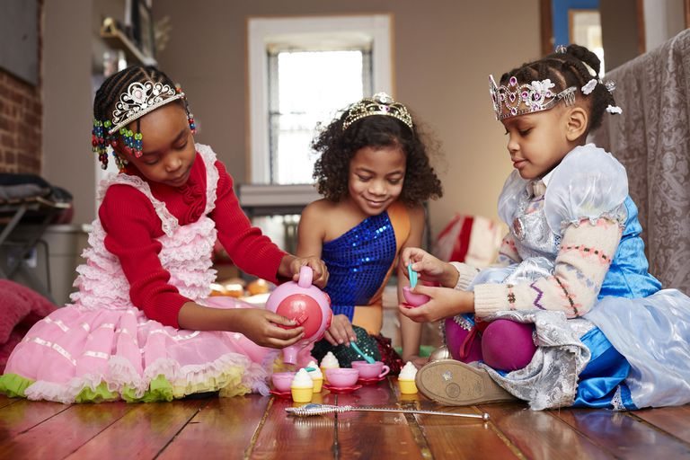 Girls playing tea party