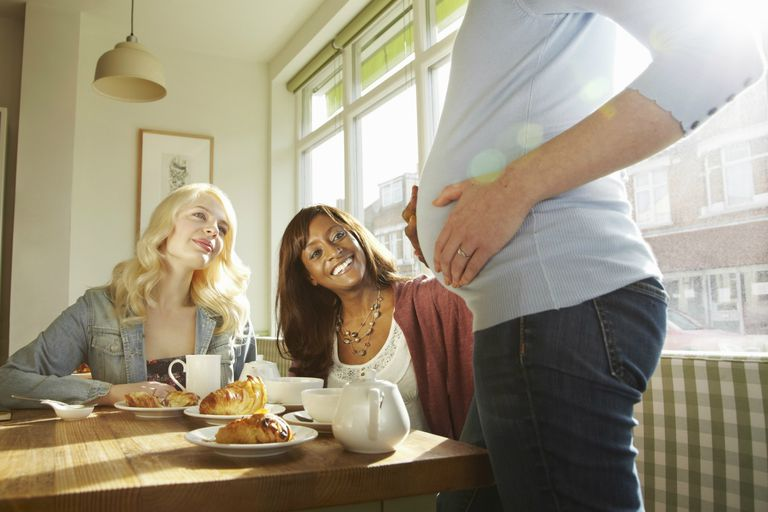 Women admiring friends pregnant belly