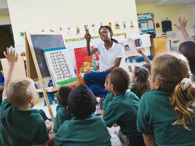 Teacher with preschool students in classroom.