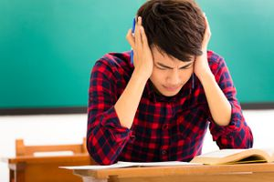 Stressed teenager at school