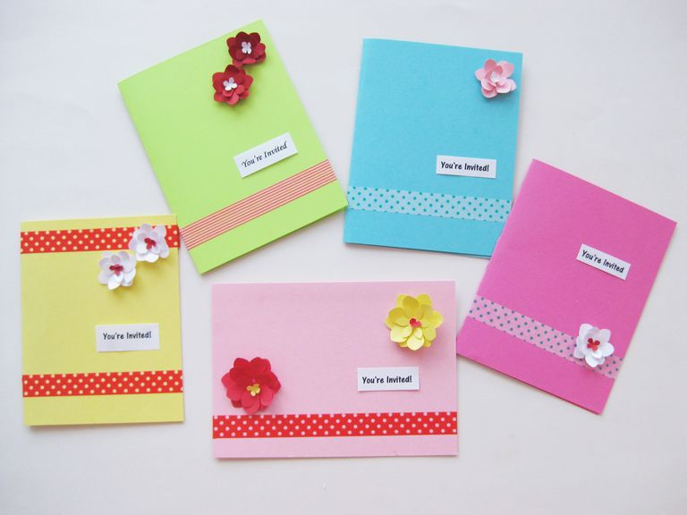 kids' birthday party invitations make with punched paper flowers and washi tape