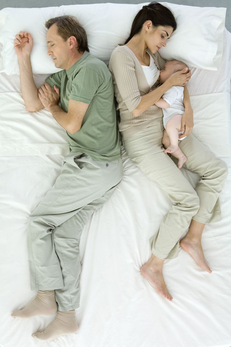 Parents sleeping with newborn