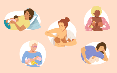 Five women in different breastfeeding positions
