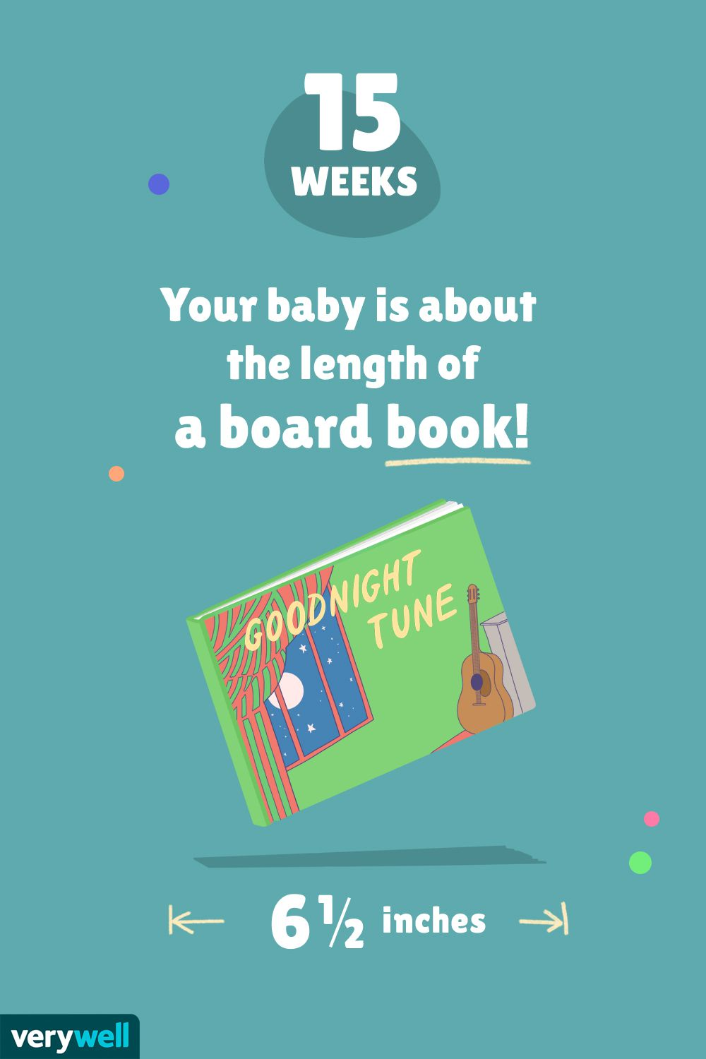 At 15 weeks pregnant, your baby is about the length of a board book