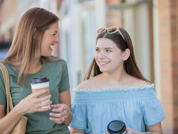 mom and daughter shopping
